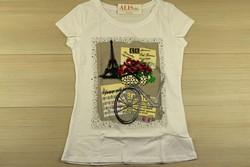 Дамска блуза с къс ръкав - 5005 - бяла с апликация