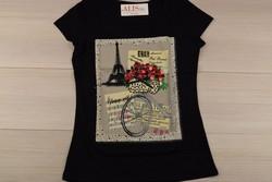 Дамска блуза с къс ръкав - 5005 - черна с апликация