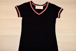 Дамска блуза с къс ръкав - 5006 - черна изчистена