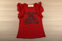 Дамска блуза с къс ръкав - 5009 - червена с надпис