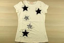 Звездна дамска блуза с къс ръкав - 5010 - бяла/ щампа и пайети