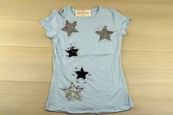 Звездна дамска блуза с къс ръкав - 5010 - синя/ щампа и пайети