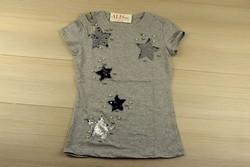 Звездна дамска блуза с къс ръкав - 5010 - сива/ щампа и пайети