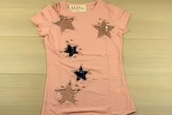 Звездна дамска блуза с къс ръкав - 5010 - розова/ щампа и пайети