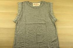 Дамска блуза с къс ръкав - 5011 - сива с перли