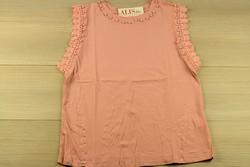 Дамска блуза с къс ръкав - 5011 - розова с перли