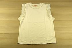Дамска блуза с къс ръкав - 5011 - бяла с перли