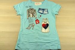 Дамска парти блуза с къс ръкав - 5013 - синя