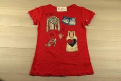 Дамска парти блуза с къс ръкав - 5013 - червена