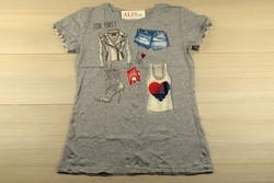 Дамска парти блуза с къс ръкав - 5013 - сива