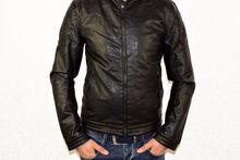 Мъжко кожено яке - 1125 - черно