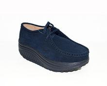 Дамски обувки от ЕСТЕСТВЕН ВЕЛУР - тъмно сини