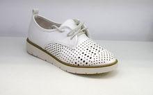 Дамски обувки с перфорация - 0094 - бели
