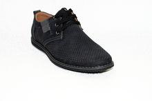 Стилни мъжки обувки с връзки  - 6005 - черни