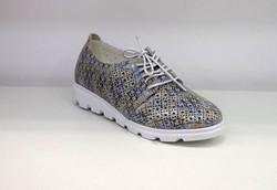 Дамски ниски обувки с връзки - 0098 - сребристи
