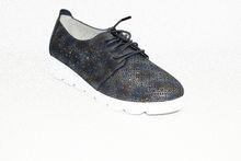 Дамски ниски обувки с връзки - 0098 - сини
