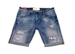 Модни къси мъжки дънки в макси размери - 1991 - сини с кръпки