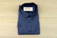 Мъжка риза с къс ръкав - BIRINDELLI 01 - тъмно синя с бели акценти