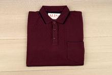 Мъжка тениска с яка и горен джоб - RYS 01 - бордо
