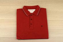 Мъжка тениска с яка - RYS 02 - коралово червено