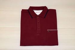 Мъжка тениска с яка до 4 XL -RYS 03 - бордо