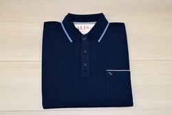 Мъжка тениска с яка до 4XL - RYS 03 - тъмно синя