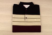 Мъжка тениска яка трицветна - RYS 05 -черно/бежово/бордо