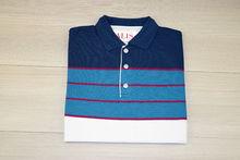 Мъжка тениска с яка трицветна - RYS 05 - тъмно синьо/светло синьо/бяло
