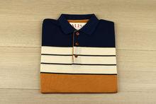 Мъжка тениска с яка трицветна -RYS 05 - тъмно синьо/бежово/кафяво