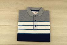 Мъжка тениска с яка трицветна - RYS 05 - сиво/бяло/тъмно синьо