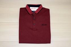 Мъжка тениска с яка - MCS 04 - до 3XL- бордо