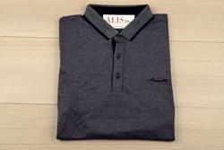 Мъжка тениска с яка -MCS 05 - до 3XL - тъмно синьо/лилав десен