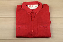 Мъжка риза с къс ръкав - BACARDA O2 - корал