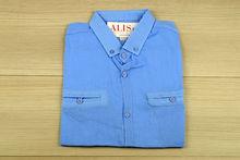 Мъжка риза с къс ръкав -  BACARDA 07 - синя
