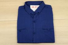 Мъжка риза с къс ръкав - BACARDA 08 - тъмно синя
