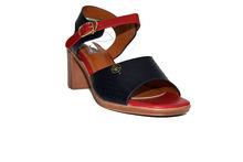 Дамски сандали с дебел ток - 5503 - червени/тъмно сини