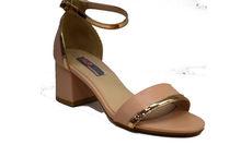 Дамски сандали на среден ток - 5504 - бежови