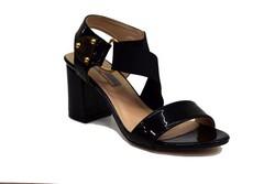Елегантни дамски сандали на среден ток - 5505 - черни