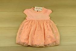 Детска рокля с пеперуди - розова от 9м. до 4 г.