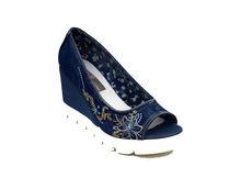 Дамски дънкови сандали на платформа - 2819 - сини
