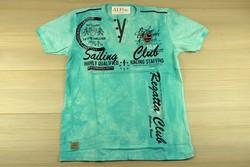 Мъжка тениска в макси размери - SAILING CLUB - цвят мента до 5XL
