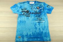 Мъжка тениска в макси размери - MONACO - светло синя до 5 XL