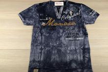 Мъжка тениска в макси размери - MONACO  - тъмно синьо/сиво до 5 XL
