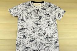 Мъжка тениска - бяла с черни пръски