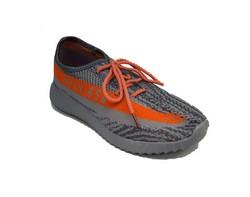 Мъжки спортни текстилни обувки - сиви с оранжеви ленти