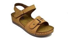 Ежедневни дамски сандали с лепки - 2824 - бежови