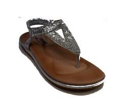 Дамски сандали с разделител между пръстите - 2827 - сребро
