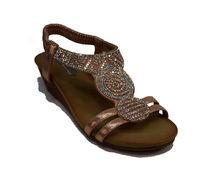 Дамски сандали с леко повдигната задна част- 2828 - розови