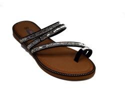 Ниски сандали с разделител - 2831 - черно