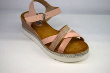 Дамски сандали на платформа - 2821 - розови